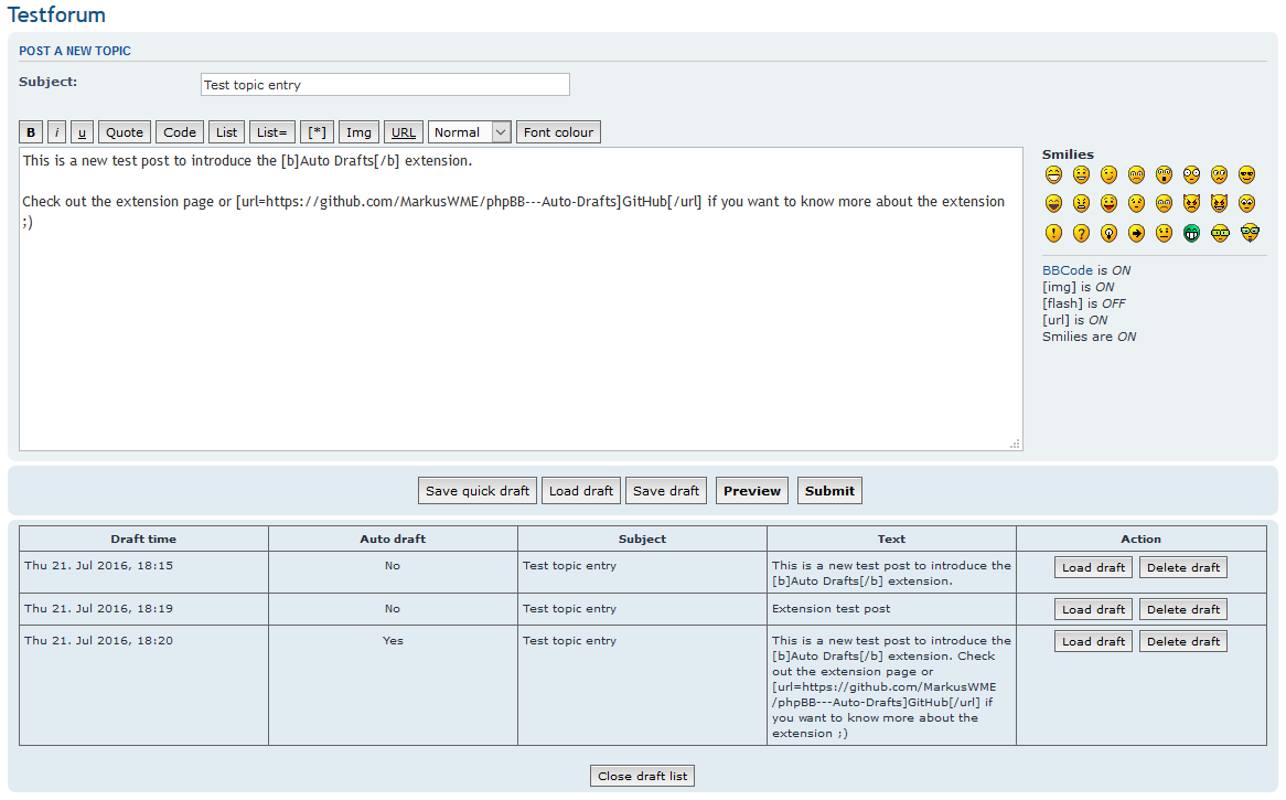 phpBB Auto Drafts Contribution Details