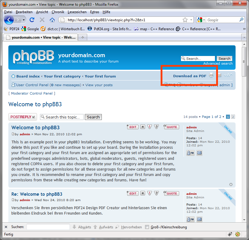 phpBB • pdf24 Posts to PDF v3 - Contribution Details