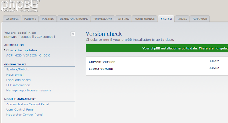 phpBB • SYSTEM Tab in ACP shows error - after uninstall