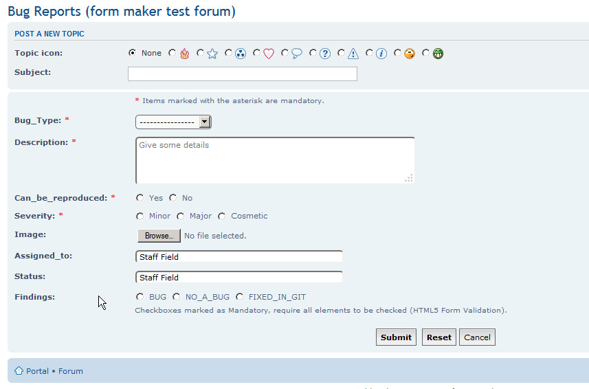 Validating forms using phpbb