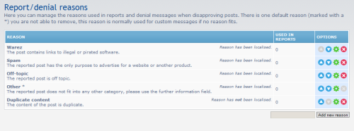 Report/denial reasons page