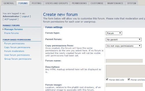 Creating a new forum