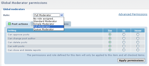 The Forum Moderator's Permissions